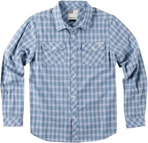 O'Neill Boy's Asher Long Sleeve Shirt, Light Blue - Indi Surf