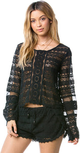 Amuse Society Junior's Hideaway Long Sleeve Knit Crop Top, (BLK) Black, Size X-Small