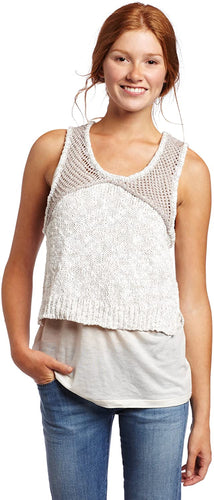 RVCA Juniors Speechless Sleeveless Sweater, (OAT) Oatmeal, Size Large