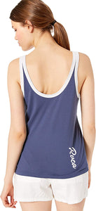 RVCA Women's Contrary Ringer Tank Top, (NVY) Navy