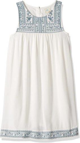 O'Neill Girls Holland Emroidered Dress, (WWH) Winter White, Girls Size Small (7/8) - Indi Surf