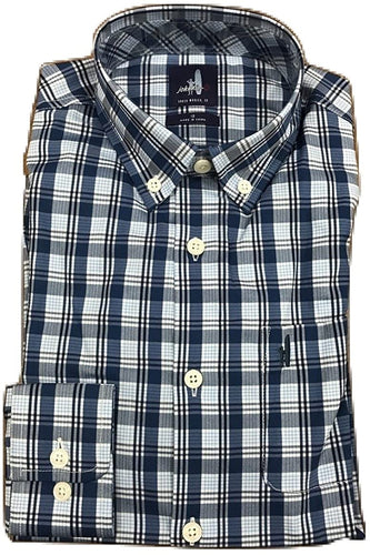 johnnie-O Boys Heathland Prep-Formance Button Down Shirt, Laguna Blue