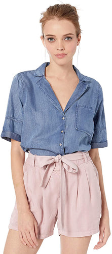 RVCA Women's Inner Thoughts Chambray Shirt, (BIN) Bleached Indigo, Size X-Small