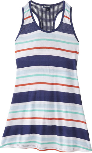 Splendid Big Girls' Topanga Stripe Dress, Navy, Small