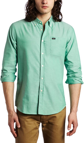 RVCA Teen-boysmen's That'll Do Oxford Long Sleeve, (BGN) Bean Green, Size XX-Large