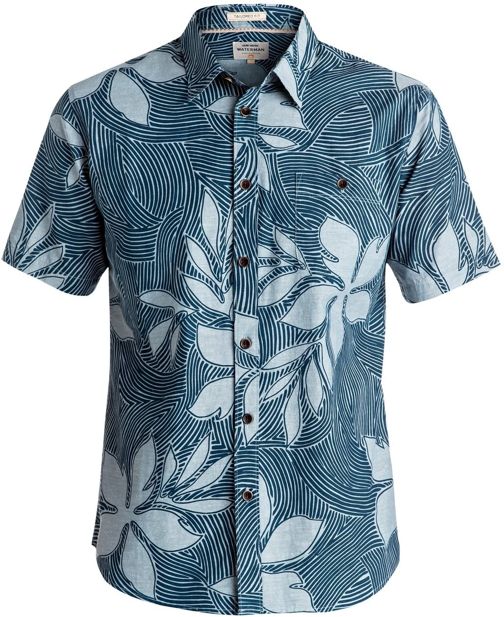 Quiksilver Mens Sunburst Button Up Short-Sleeve Shirt Small Provencial