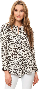 Billabong Women's Three Arch Luv Long Sleeve Buttondown Shirt, (ANI) Animal, Size Medium