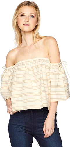 Billabong Women's Match Up Off-The-Shoulder Top, (CRM) Cream