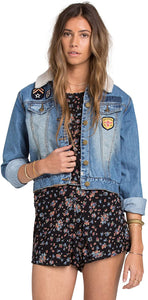 Billabong Juniors Patched Love Denim Jacket, Size Small