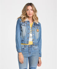 Load image into Gallery viewer, Billabong Juniors Patched Love Denim Jacket, Size Small