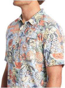 Quiksilver Men's Hot Tropics Short Sleeve Shirt, Multicolored, Size Small