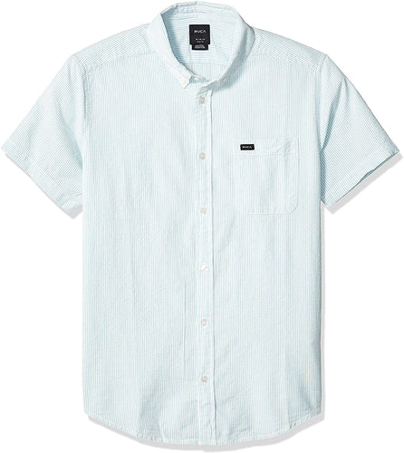 RVCA Men's That'll Do Hi Grade Button-Down Short Sleeve Shirt, (SKY) Sky Blue, Size Small