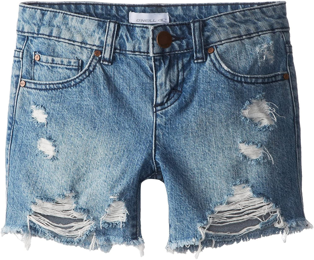 O'Neill Girls' Monkey Bars Cutoff Denim Shorts, (VIN) Vintage Indigo