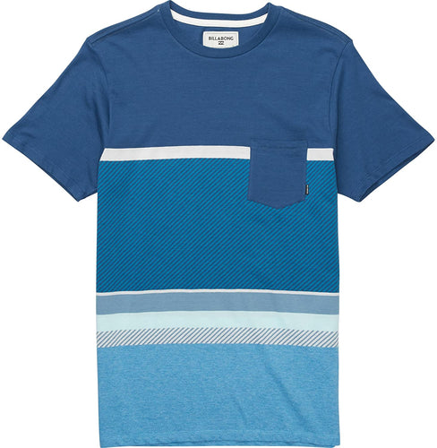 Billabong Boy's Spinner Short Sleeve Knit Crew Shirt, (DAR) Dark Royal, Boys Size Medium