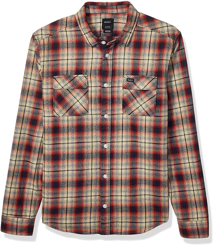 RVCA Men's Hostile Plaid Button-Up Flannel