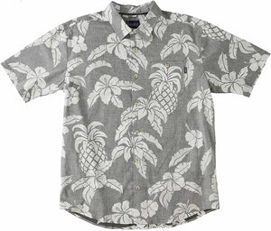 O'Neill Men's Makena Short Sleeve Hawaiian Shirt, Grey