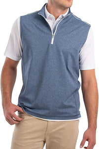johnnie-O Men's Lammie 1/4 Zip Prep-Formance Vest, Lake Blue