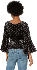 Billabong Women's Embrace It Crushed Velvet Top. Black, Size Small