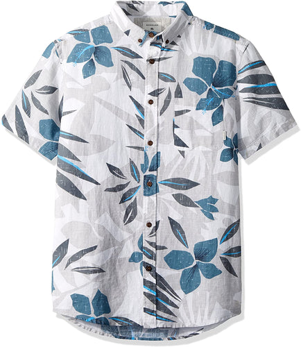 Quiksilver Men's Short Sleeve Linen Print Hawaiian Shirt, Grey, Size X-Large