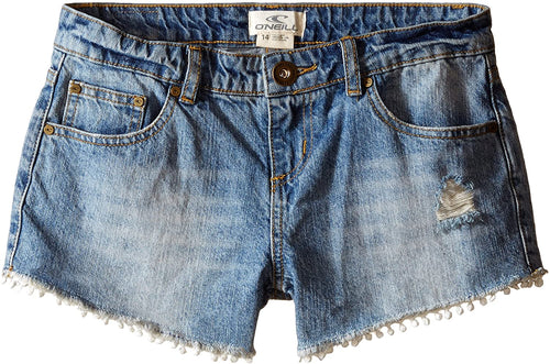 O'NEILL Girls Zandra Denim Shorts, (OCN) Ocean, Girls Size 6