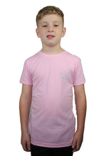Load image into Gallery viewer, Indi Surf Boys Signature Short Sleeve T-Shirt - Pink w/Light Blue Logo - Indi Surf