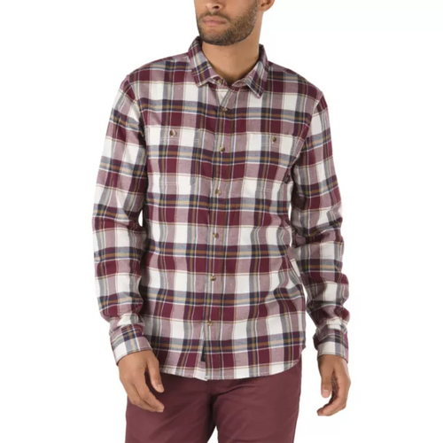 Vans Men's Banfield III Flannel Shirt, Antique White/Port Royale