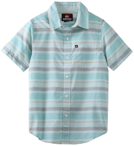 Quiksilver Boy's Booked Tickets Short Sleeve Button Down Shirt, Green, Boys Size Large