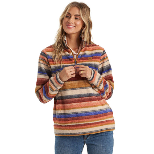Billabong Women's Boundary Mock Neck Fleece, Multicolored