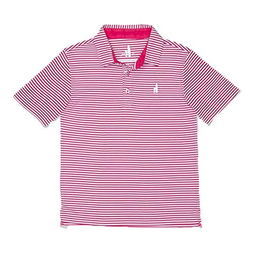 Johnnie-O Boys Bunker Performance Short Sleeve Striped Polo Shirt, Paradise