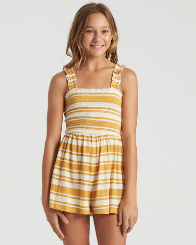Billabong Girl's Come Around Romper, Bright Gold