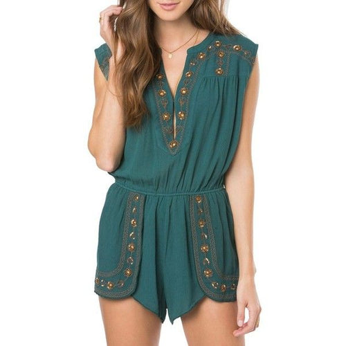 O'Neill Women's Dahlia Embellished Romper, (FOR) Forest, Size Small
