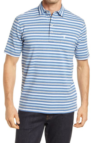 Johnnie-O Men's Dalton Stripe 4 Button Polo Shirt, Oceanside