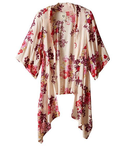 Billabong Girls Endless Seas Print Kimono, (BLS) Blush, Girls Size Medium (10/12)