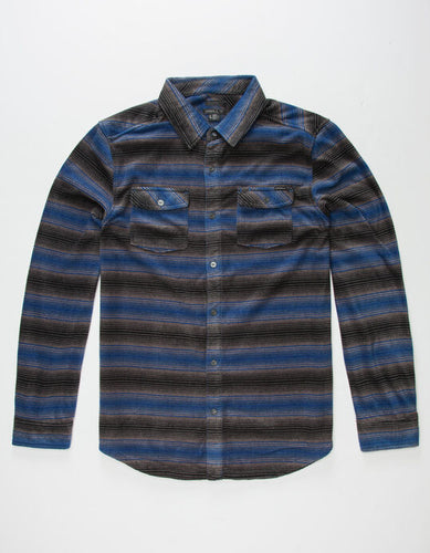 O'Neill Boy's Glacier Stripe Long Sleeve Fleece, Blue, Size Small
