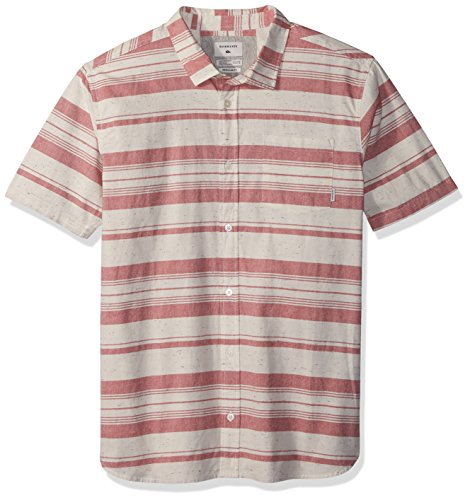 Quiksilver Boy's Good Wall Youth II Short Sleeve Button Down, Mineral Red