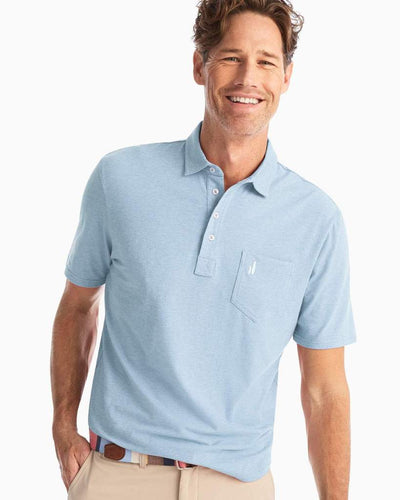 Johnnie-O Men's Heathered Original 4-Button Polo Shirt, Gulf Blue