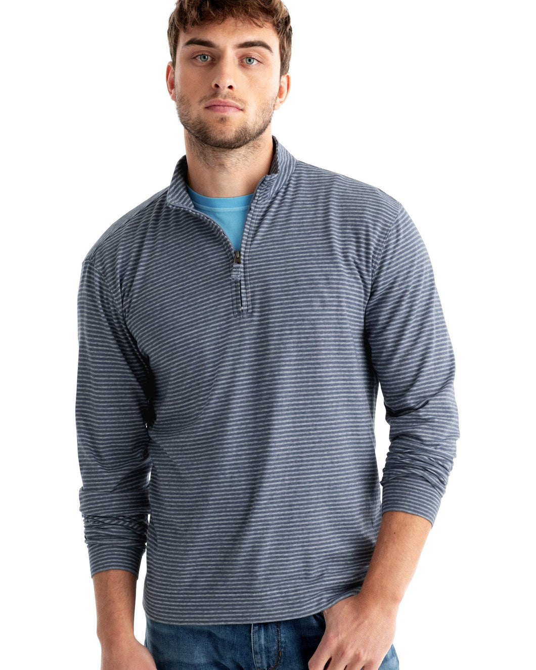 Johnnie-O Men's Harvell Slub Stripe 1/4 Zip Pullover, Light Gray
