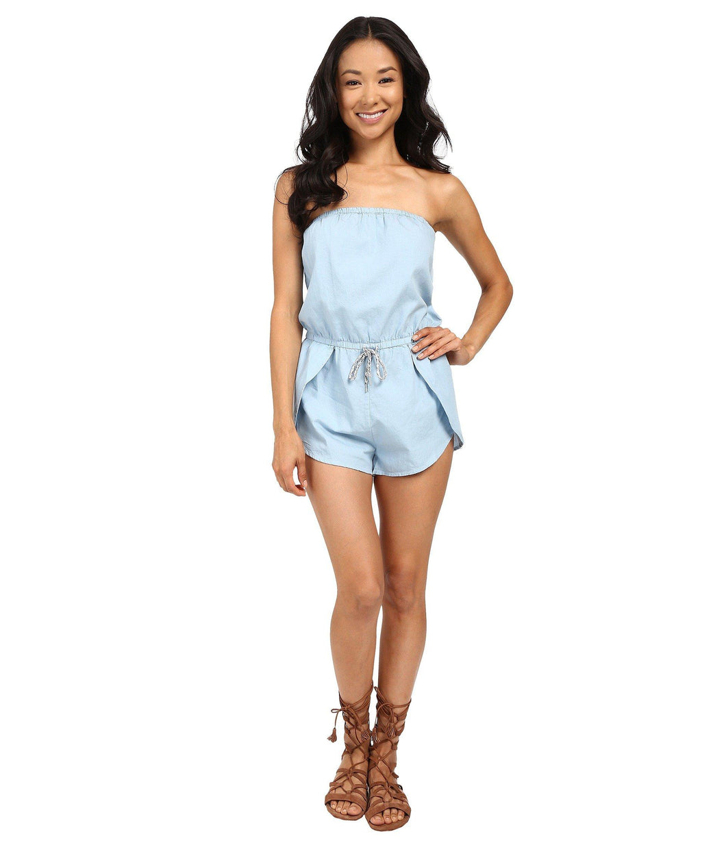 Vans Women's Mars Denim Romper, Bleach, Size Small