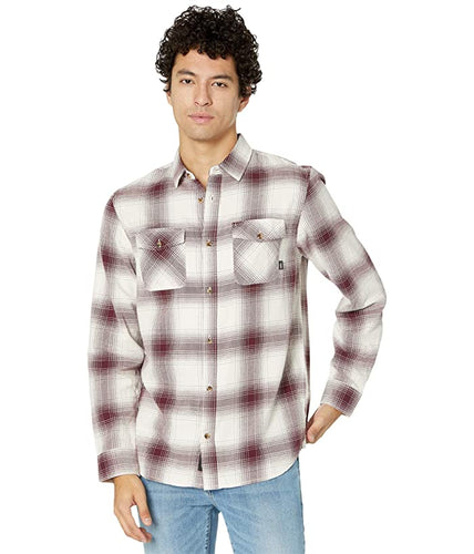 Vans Men's Monterey III Flannel Shirt, Antique White/Port Royale