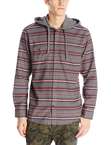 Quiksilver Boy's Pelican Button Down Hoodie, Olive Green, Boys Size Small