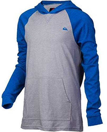 Quiksilver Boy's Pound Sand Lightweight Pull Over Hoodie, Grey/Blue