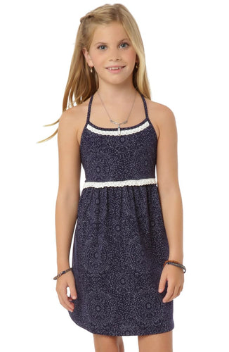O'Neill Girls Randi Lace Trim Dress, (NVY) Navy, Girls Size Small