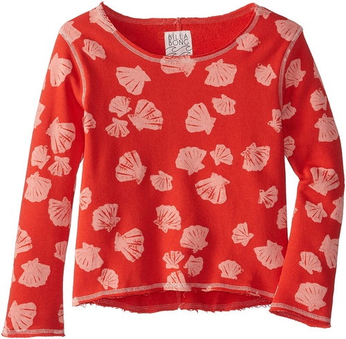 Billabong Girl's Shell Lover Pull Over Fleece, Red, Large