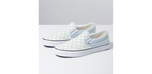VANS CHECKERBOARD CLASSIC SLIP-ON, BALLAD BLUE/TRUE WHITE