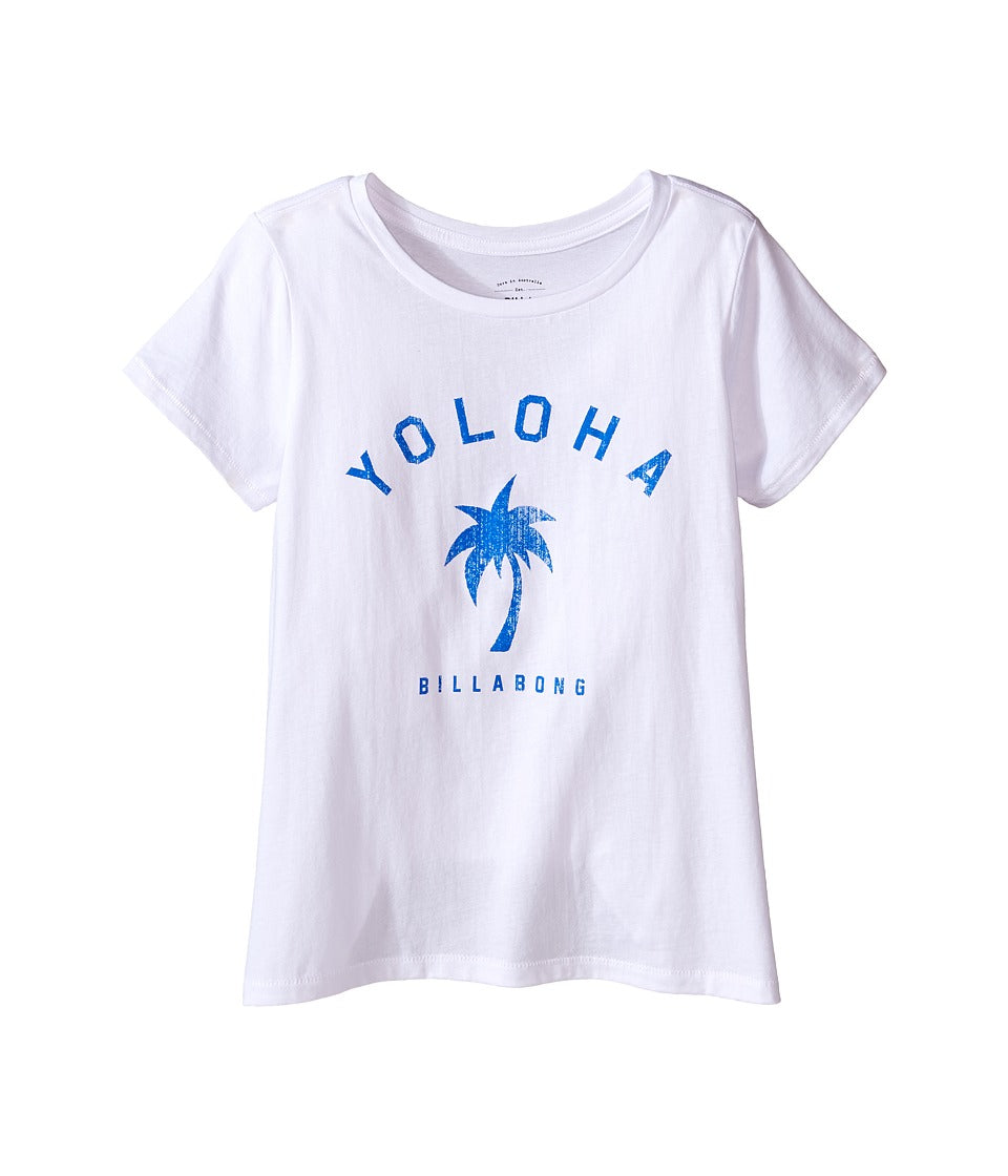 Billabong Girls Yoloha Tee, (WHT) White, Girls Size Small (7/8)