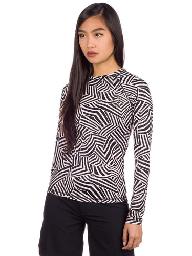 Billabong Women's Sun Tribe Rashguard, Black & White, Size Medium