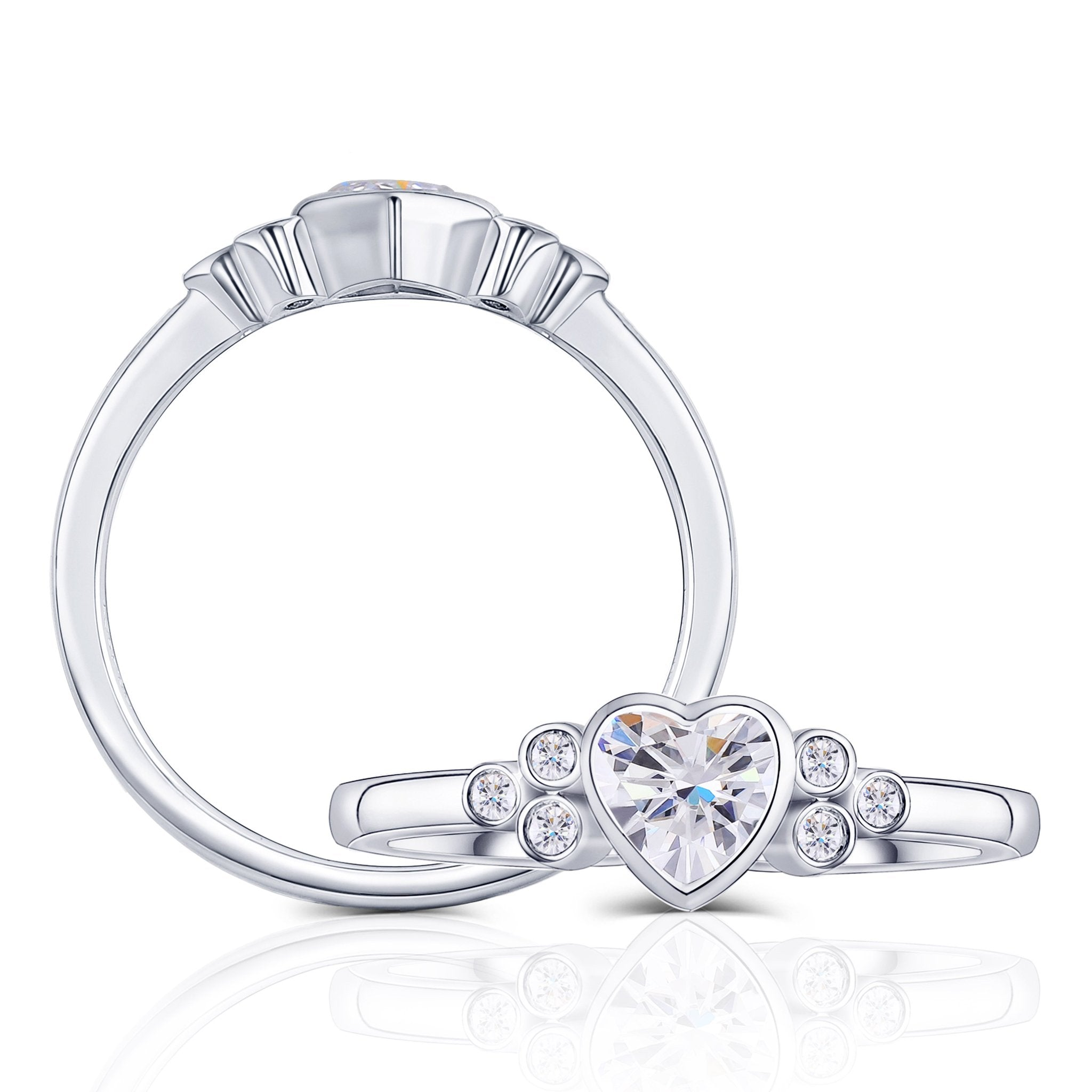 Classic Low Set Bezel Side Stone 1 Carat Heart Moissanite Ring