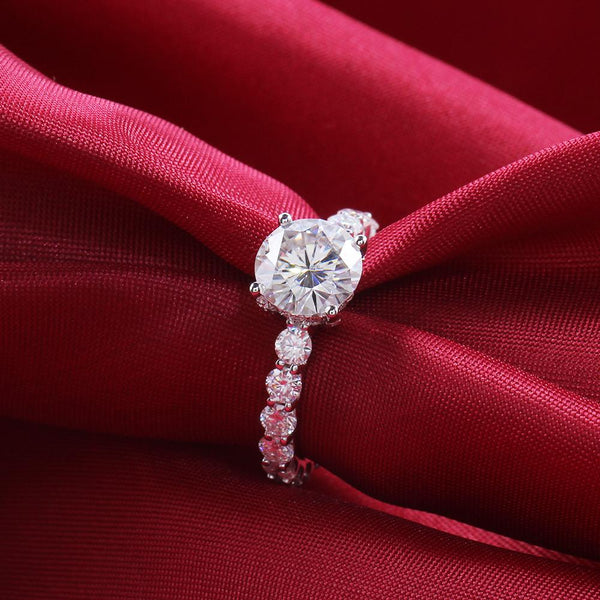 Pave Wrap Hidden Halo Shared Prong 1.5 Carat Round Moissanite Ring