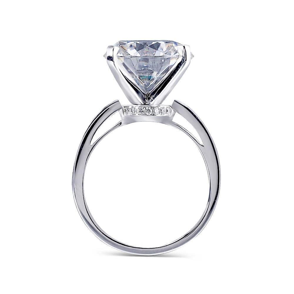 Thick Band Hidden Halo Bead Set 10 Carat Round Moissanite Engagement Ring