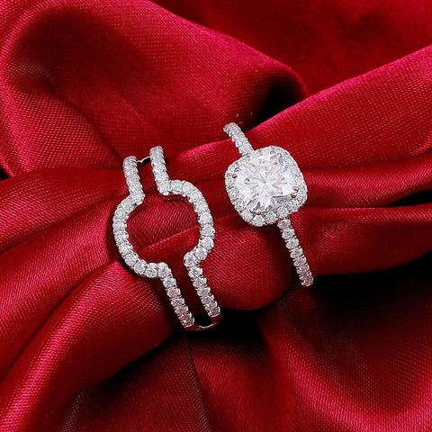 Bridal Set halo engagement ring that is not tacky